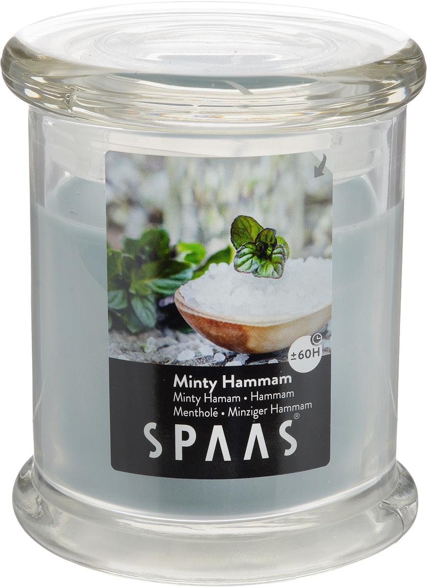 Свеча ароматизированная Spaas Арома премиум. Мятный хаммам, высота 11 см0547016191Наливная ароматизированная свеча Spaas Арома премиум. Мятный хаммам в стеклянном стакане с крышкой наполнит дом приятным ароматом. Крышка снабжена специальным силиконовым ободком, благодаря чему плотно закрывается. Свеча изготовлена из парафина с добавлением натуральных красок и ароматизаторов, не выделяющих вредные вещества при горении. Фитиль выполнен из натурального хлопка. Оригинальная свеча с тонким, нежным ароматом добавит романтики в ваш дом и создаст неповторимую атмосферу уюта, тепла и нежности. Такая свеча не только поможет дополнить интерьер вашей комнаты, но и станет отличным подарком. Время горения: 60 ч.