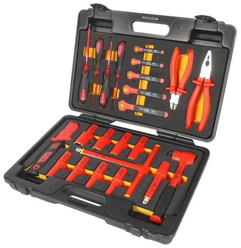 Набор инструментов для электроустановок JTC, с изоляцией, 24 предмета. JTC-I006JTC-I006В комплекте: 1 ед. - изолированная трещотка 1/2. 1 ед. - изолированный удлинитель 5. 8 ед. - изолированные головки 1/2: 10, 12, 13, 14, 17, 19, 22, 24 мм. 1 ед. - ключ с Т-образной рукояткой с изоляцией 1/2. 1 ед. - нож электромонтажный. 4 ед. - отвертки с изоляцией: РН1х4, РН2х4, шлицевая 5.5х5, 4.0х4. 5 ед. - рожковый ключ с изоляцией: 7, 8, 10, 12, 14 мм. 2 ед. - клещи с изоляцией: 8 универсальные клещи, 6, бокорезы. Набор упакован в прочный переносной кейс. Головки изготовлены в соответствии со стандартом En60900: 2004. Предназначены для работы с электроустановками, находящимися под напряжением до 1000 В переменного тока. Одобрено VDE.