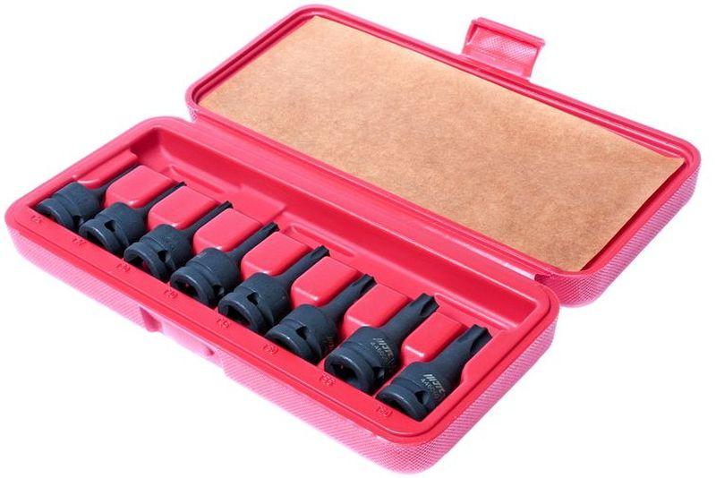Набор головок торцевых JTC, ударные, 8 шт. JTC-J408T2706 (ПО)Набор ударных торцевых головок JTC предназначен для работы с крепежом имеющий внутренний профиль. Набор отлично подойдет для автослесарной мастерской, станции технического обслуживания и производства.Инструмент расположен в пластиковом кейсе для комфортного хранения и транспортировки. В комплект входит 8 торцевых головок размером Т-25, 27, 30, 40, 45, 50, 55, 60 под ключ 1/2.Длина: 7,8 см.
