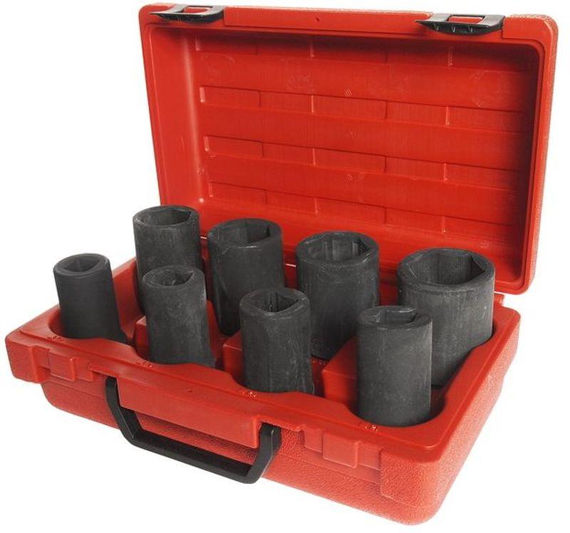 """Набор головок торцевых JTC, ступенчатые, для грузовых автомобилей, 8 предметов. JTC-J608BJTC-J608BНабор головок торцевых JTC специально предназначен для разборки/сборки ступиц грузовых автомобилей. Предметы набора изготовлены из хромованадиевой стали. В комплекте: 3/4"""" Dr.х90 6РТ: 35, 36, 38, 41 мм. 3/4"""" Dr.х90 4РТ: 17, 19, 20, 21 мм."""