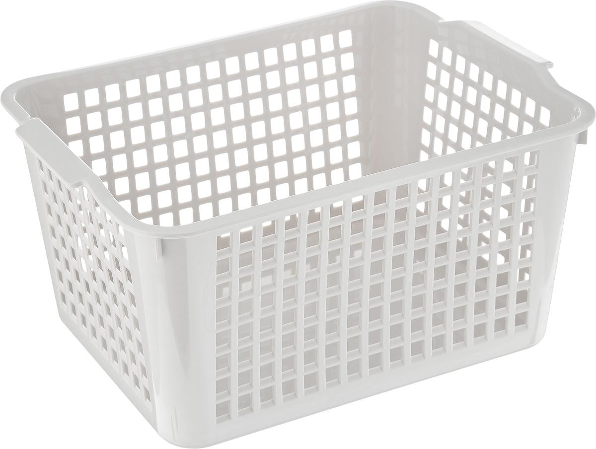 Корзинка Econova, цвет: серый, 27 х 19 х 14,5 см718341_серыйКорзинка Econova, изготовленная из высококачественного прочного пластика, предназначена для хранения мелочей в ванной, на кухне, даче или гараже. Изделие оснащено двумя удобными ручками. Это легкая корзина со сплошным дном, жесткой кромкой и небольшими отверстиями позволяет хранить мелкие вещи, исключая возможность их потери.