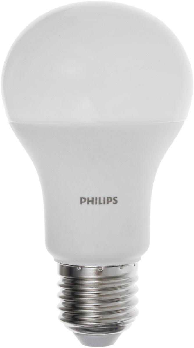 Лампа светодиодная Philips LED bulb, цоколь E27, 13W, 3000KЛампа LEDBulb 13-100W E273000K230VA60/PFСовременные светодиодные лампы LED bulb экономичны, имеют долгий срок службы и мгновенно загораются, заполняя комнату светом. Лампа оригинальной формы и высокой яркости позволяет создать уютную и приятную обстановку в любой комнате вашего дома. Светодиодные лампы потребляют на 87% меньше электроэнергии, чем обычные лампы накаливания, излучая при этом привычный и приятный теплый свет. Срок службы светодиодной лампы LED bulb составляет до 1500 часов, что соответствует общему сроку службы пятнадцати ламп накаливания. Благодаря чему менять лампы приходится значительно реже, что сокращает количество отходов. Напряжение: 220-240 В. Световой поток: 1400 lm. Эквивалент мощности в ваттах: 100 Вт.