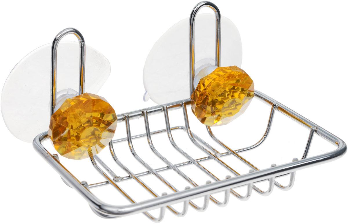 Мыльница Top Star Kristall, подвесная, на присосках, цвет: желтый, стальной, 9,5 х 11,5 х 6,5 см19201Мыльница Top Star Kristall изготовлена из хромированной стали. Изделие крепится к стене при помощи двух присосок. Такая мыльница прекрасно подойдет для ванной комнаты или кухни.