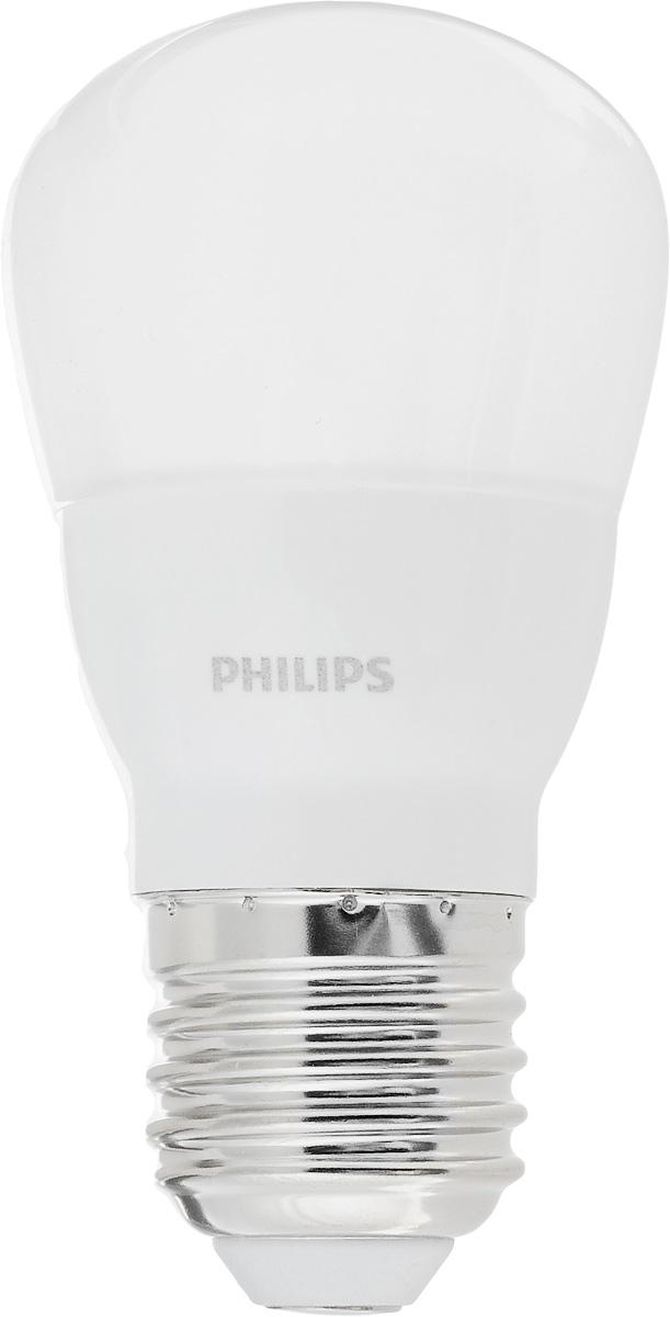 Лампа светодиодная Philips LED bulb, цоколь E27, 4W, 6500KC0044108Современные светодиодные лампы LED bulb экономичны, имеют долгий срок службы и мгновенно загораются, заполняя комнату светом. Лампа оригинальной формы и высокой яркости позволяет создать уютную и приятную обстановку в любой комнате вашего дома. Светодиодные лампы потребляют на 90% меньше электроэнергии, чем обычные лампы накаливания, излучая при этом привычный и приятный теплый свет. Срок службы светодиодной лампы LED bulb составляет до 15000 часов, что соответствует общему сроку службы пятнадцати ламп накаливания. Благодаря чему менять лампы приходится значительно реже, что сокращает количество отходов. Напряжение: 220-240 В. Световой поток: 350 lm. Эквивалент мощности в ваттах: 40 Вт.