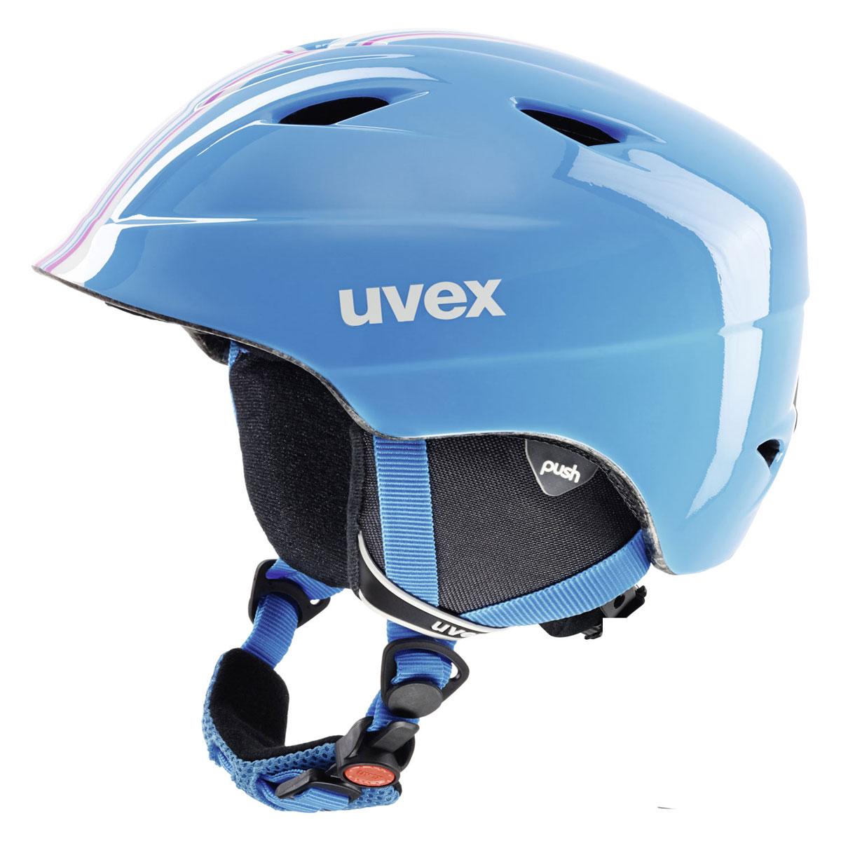 Шлем зимний Uvex Airwing 2, детский, цвет: голубой. Размер SS566192-4903_голубойШлем детский Uvex Airwing 2. Функциональные особенности модели: гипоаллергенный материал подкладки, система вентиляции, съемная защита ушей, фиксатор стрэпа маски, система индивидуальной подгонки размера IAS, застежка Monomatic. Сделано в Германии. Конструкция In-mould Вентиляция Принудительная Сертификация EN 1077 B / ASTM F 2033 Регулировка размера Да Тип регулировки размера IAS Материал внешней раковины АБС-пластик Материал внутренней раковины Пенополистирол Материал подкладки Полиэстер