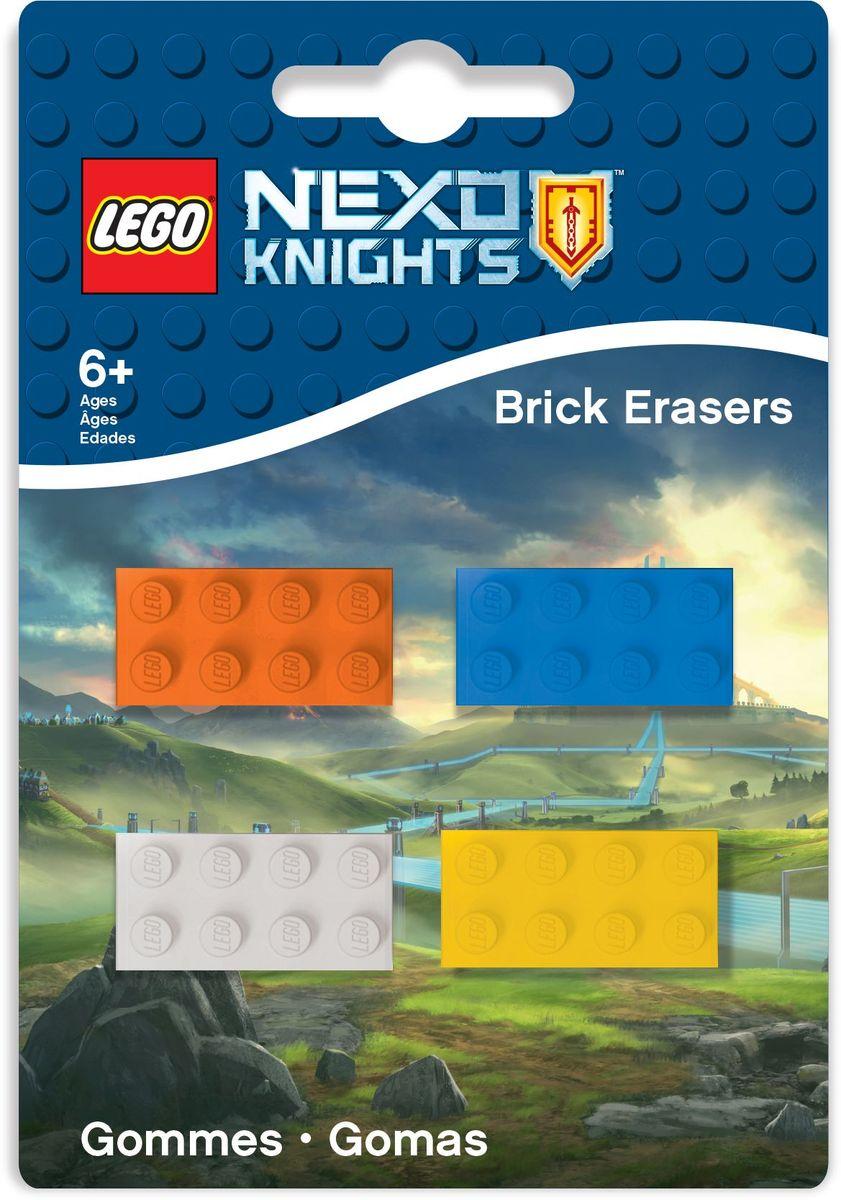 LEGO Nexo Knights Ластик 4 шт 5156051560Ластик LEGO Nexo Knights подходит для стирания графитовых рисунков и надписей, не оставляет разводов, не царапает поверхность. Набор состоит из 4 ластиков, выполненных в форме классического кирпичика LEGO.