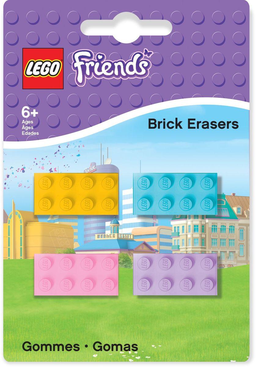LEGO Friends Ластик 4 шт 5160872523WDЛастик LEGO Friends подходит для стирания графитовых рисунков и надписей, не оставляет разводов, не царапает поверхность.Набор состоит из 4 ластиков, выполненных в форме классического кирпичика LEGO.