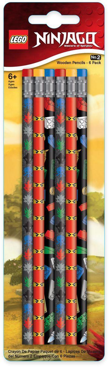 LEGO Набор карандашей Ninjago 6 шт51618Набор простых карандашей LEGO Ninjago создан специально для настоящих фанатов серии Ninjago. Набор состоит из 6-ти карандашей с ластиком. Грифель карандашей твёрдо-мягкий.