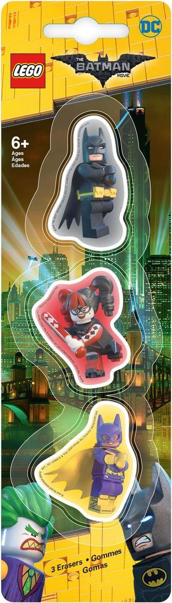 LEGO Batman Movie Ластик 3 шт 5175951759Ластик LEGO Batman Movie подходит для стирания графитовых рисунков и надписей, не оставляет разводов, не царапает поверхность. Такие ластики станут оригинальным подарком для всех поклонников LEGO! В наборе 3 фигурных ластика.