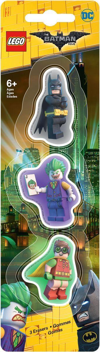 LEGO Batman Movie Ластик 3 шт 5176034650_желтый, зеленыйЛастик LEGO Batman Movie подходит для стирания графитовых рисунков и надписей, не оставляет разводов, не царапает поверхность.Такие ластики станут оригинальным подарком для всех поклонников LEGO!В наборе 3 фигурных ластика.