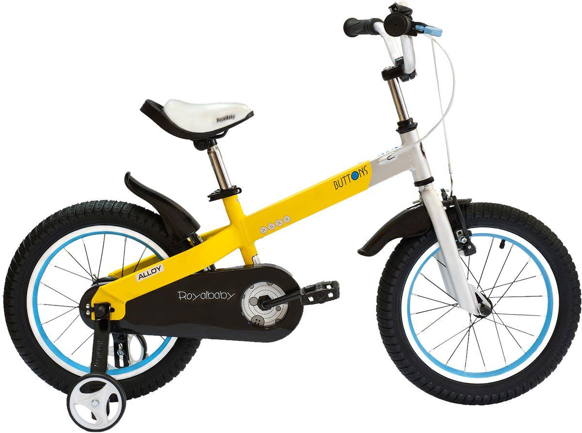 Велосипед детский Royal Baby Buttons Alloy 16, цвет: желтыйRB16-16 ЖелтыйКатание на велосипеде станет еще более интересным занятием вместе с детским велосипедом Royal Baby Buttons Alloy на колесах диаметром 16. Рама велосипеда выполнена в интересном эргономичном дизайне, благодаря которому ребенок не устанет во время длительной езды. Сиденье и руль регулируются по высоте в зависимости от роста ребенка, что позволяет настроить велосипед именно под Вашего малыша. Для безопасности, велосипед оснащен ручным тормозом на переднее колесо, защитой цепи, светоотражающими катафотами на педалях и дополнительными боковыми колесами. подходит для езды по городу и пересеченной местности; RoyalBaby Buttons оснащен удобным сиденьем эргономичной формы, которое позволяет снять нагрузку с позвоночника ребенка во время длительного катания; руль оснащен ручками с нескользящей поверхностью; сиденье и руль регулируются по высоте; велосипед оснащен прочной стальной вилкой; рама выполнена из качественного алюминиевого сплава; рама покрыта не токсичной гипоаллергенной краской;...