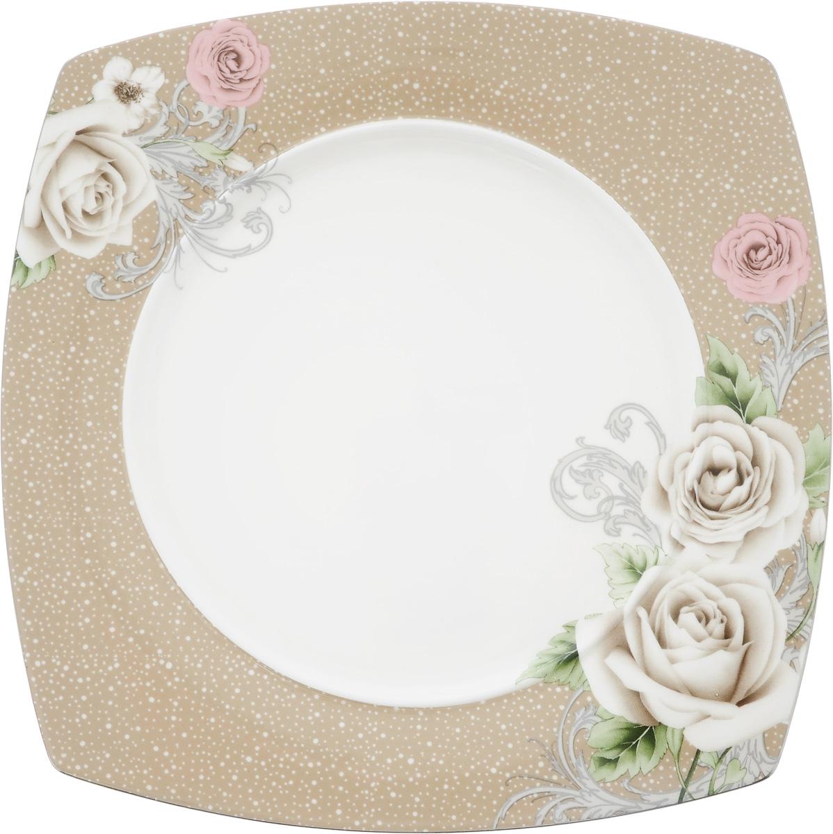 Тарелка Florance, 20 x 20 смVT-1520(SR)Тарелка Florance изготовлена из качественного фарфора. Изделие декорировано цветочным рисунком. Такая тарелка отлично подойдет в качестве блюда для сервировки закусок и нарезок, ее также можно использовать как обеденную.