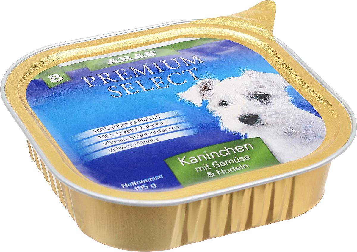 Консервы для собак Aras Premium Select, с кроликом, овощами и лапшой, 195 г101208Повседневный консервированный корм Aras Premium Select подходим для собак всех пород и всех возрастов. При производстве корма используются исключительно свежие натуральные продукты: мясо кролика и говядины, овощи, лапша и экстракт масла зародышей зерна пшеницы холодного отжима (Bio-Dura). Благодаря уникальной технологии, схожей с технологий Souse Vide, при изготовлении сохраняются все натуральные витамины и минералы. Это достигается благодаря бережной обработке всех ингредиентов при температуре менее 80 градусов. Такая бережная обработка продуктов не стерилизует продуктовые компоненты, поэтому корма не нуждаются ни в каких дополнительных вкусовых добавках и сохраняют все необходимые полезные вещества. Не содержит химических красителей, усилителей вкуса, искусственных консервантов, химических добавок и ГМО. Состав: мясо (кролик/говядина) 94%, овощи 2%, лапша 2%, экстракт зародышей пшеницы холодного отжима 2%. Пищевая ценность: белки 12,6%,...