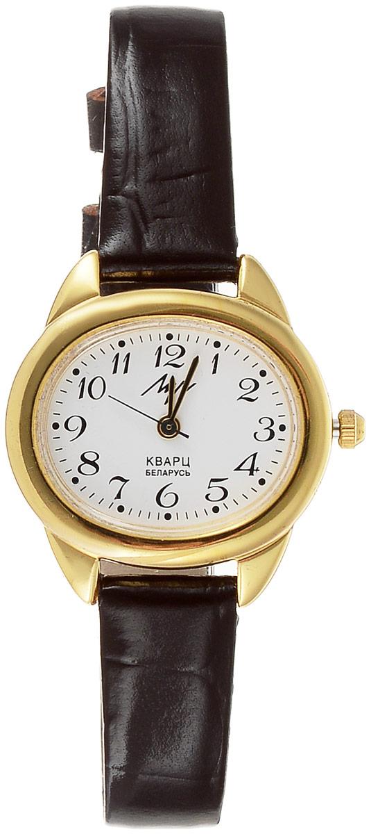 Наручные часы женские Луч, цвет: коричневый, золотистый, белый. 78668458BM8434-58AEКлассические элегантные женские кварцевые часы Луч с японским механизмом Miyota имеют овальный приятный корпус золотистого цвета. Овальный циферблат, прикрытый органическим стеклом, имеет разметку арабскими цифрами. Покрытие: твердое золото. Ремешок выполнен из натуральной кожи. Часы выдерживают воздействие многократных ударов с ускорением 150м/с при длительности ударов от 2 до 15 м/с. Продолжительность непрерывной работы 12 месяцев.