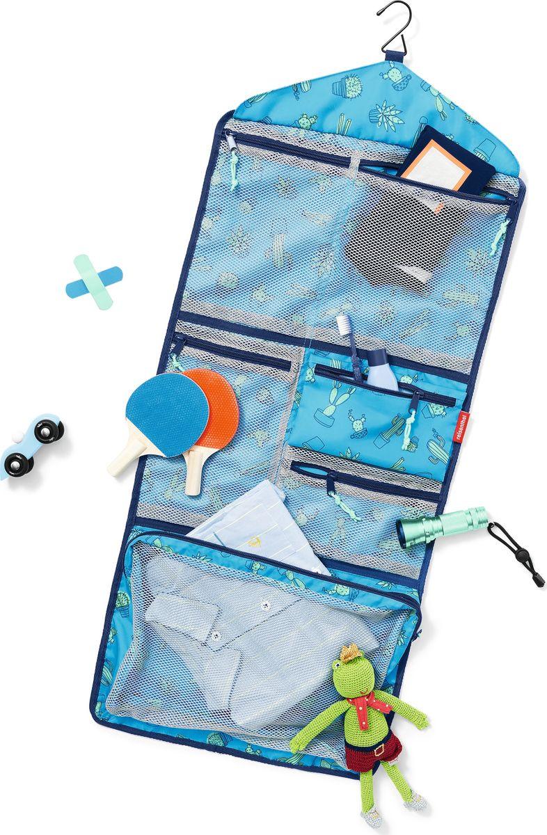 Косметичка детский Myorganizer Cactus, цвет: голубой. IB4049IB4049Практичный органайзер, который станет помощником как для детей, так и для их родителей. В собранном виде органайзер занимает мало места, пряжки надежно фиксируют конструкцию, так что она не распадется у вас в руках. Для комфортной переноски сверху предусмотрена небольшая ручка. В разобранном виде органайзер легко прикрепляется к любому выступу с помощью небольшой вешалки. В общей сложности, содержит 5 сетчатых кармашков на молнии (1 большой в нижнем отделе, и по 2 в среднем и верхнем), а также съемный карман на молнии из непрозрачной ткани. В органайзер поместятся все дорожные принадлежности, фломастеры, календарик, паста и зубная щетка, а также небольшие игрушки. Специальная плашка внутри позволит ребенку вписать собственное имя. Материал: прочный водоотталкивающий полиэстер премиум класса. Объем – 5 литров.
