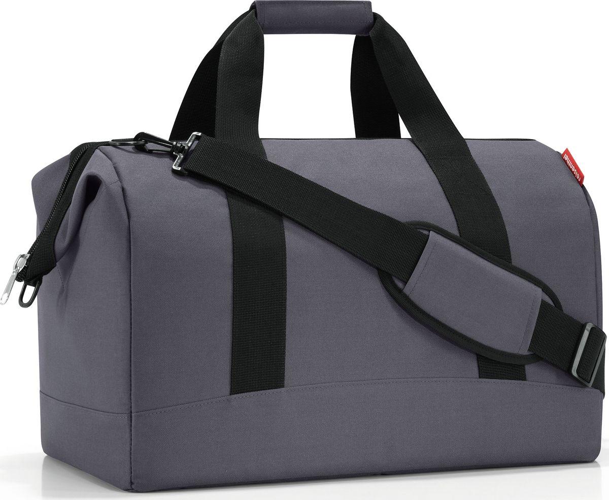 Сумка Reisenthel Allrounder L Graphite, цвет: темно-серый. MT7033MT7033Сумка хоть куда - и в путешествие, и в спортзал. Вместит все, от носков до пиджака. Приятные объемные стенки и дно создают силуэт, напоминающий старинные врачебные сумки. Застегивается на молнию, плюс внутрь встроены металлические скобы, фиксирующие ее в открытом состоянии. Внутри 6 кармашков для организации вещей. Две удобные ручки и ремень регулируемой длины позволяют носить сумку так, как вам удобно. Объем - 30 литров.