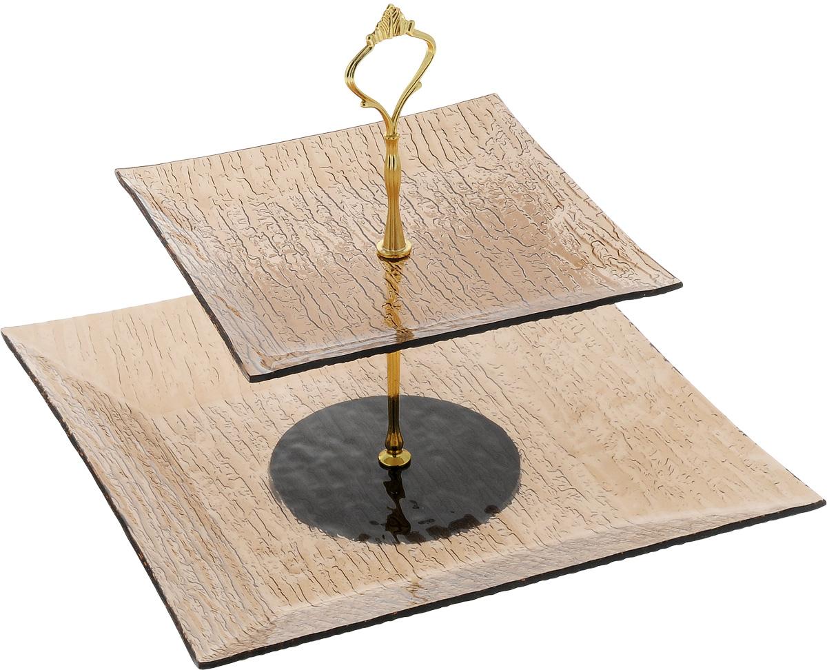 Фруктовница Vilarty, 2-ярусный, высота 25 см115510Фруктовница Vilarty, выполненная из высококачественного стекла, сочетает в себе стильный дизайн с максимальной функциональностью. Изделие состоит из 2 блюд разного размера, которые оформлены с внешней стороны изящным рельефом. Стойка-держатель выполнена из металла. Фруктовница предназначена для красивой сервировки конфет, фруктов и десертов. Она украсит сервировку вашего стола и подчеркнет прекрасный вкус хозяйки, а также станет отличным подарком. Размер малого блюда: 19,5 х 19,5 х 1,5 см.Размер большого блюда: 29 х 29 х 3 см.Высота фруктовницы: 25 см.