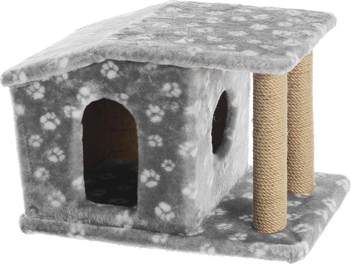 Игровой комплекс для кошек Меридиан Патриция, с домиком и когтеточкой, цвет: серый, белый, бежевый , 63 х 40 х 41 см0120710Игровой комплекс для кошек Меридиан Патриция выполнен из высококачественного ДВП и ДСП и обтянут искусственным мехом. Изделие предназначено для кошек. Ваш домашний питомец будет с удовольствием точить когти о специальные столбики, изготовленные из джута. А отдохнуть он сможет в оригинальном домике.