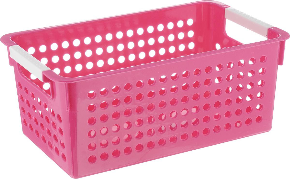 Корзина для мелочей Sima-land Решето, цвет: розовый, 29 х 14 х 12 см848402_розовыйКорзина для мелочей Sima-land Решето изготовлена из прочного пластика с перфорированными стенками и сплошным дном. Корзина снабжена двумя ручками для переноски. В ней удобно хранить различные мелочи: бытовые предметы, аксессуары для шитья, принадлежности для ванны и кухни. Такая корзина обязательно пригодится в любом хозяйстве.