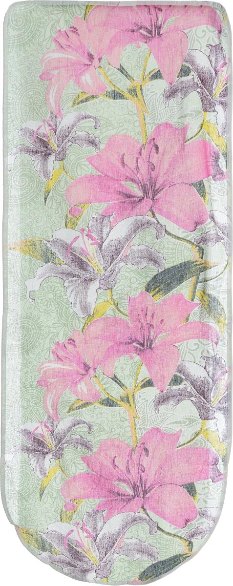 Чехол для гладильной доски Eva Лилии, цвет: зеленый, розовый, 125 х 47 см. Е13Е13_зеленый, розовыйХлопчатобумажный чехол Eva Лилии для гладильной доски с поролоновым слоем продлит срок службы вашей гладильной доски. Чехол снабжен стягивающим шнуром, при помощи которого вы легко отрегулируете оптимальное натяжение чехла и зафиксируете его на рабочей поверхности гладильной доски. При выборе чехла учитывайте, что его размер должен быть больше размера покрытия доски минимум на 5 см. Рекомендуется заменять чехол не реже 1 раза в 3 года. Размер чехла: 125 х 47 см. Максимальный размер доски: 116 х 40 см.
