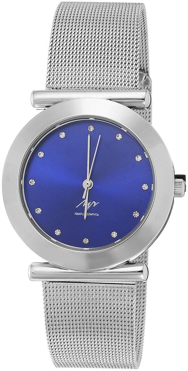 Наручные часы женские Луч, цвет: серебристый, темно-синий. 729107346BM8434-58AEМинималистичные женские кварцевые часы Луч с японским механизмом Miyota исполнены в классическом стиле. Металлический крупный круглый корпус и браслет миланского плетения подчеркивают мускулинность и сдержанность, а контрастный циферблат с отметками-кристаллами - элегантность. Часы выдерживают воздействие многократных ударов с ускорением 150м/с при длительности ударов от 2 до 15 м/с. Имеют плоское минеральное устойчивое к царапинам стекло. Продолжительность непрерывной работы 12 месяцев. Сменная батарея.