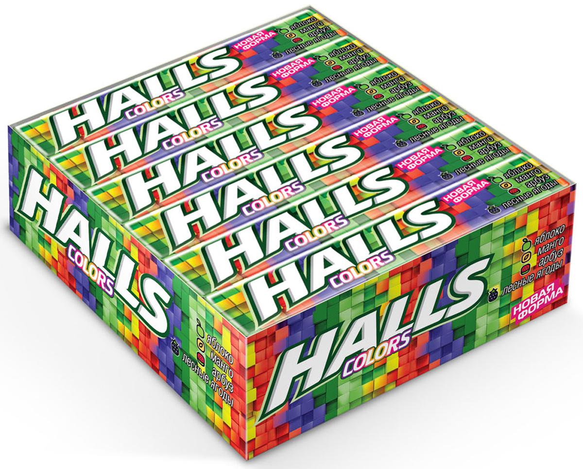Halls Colors карамель леденцовая ассорти, 12 пачек по 25 г0120710Мощный освежающий эффект Halls возникает благодаря сочетанию ментола и эвкалипта.Он сродни глотку свежего воздуха в любой ситуации, когда это необходимо - бодрит, освежает и позволяет сосредоточиться на главном. Halls также обладает смягчающим и увлажняющим действием.В напряженные моменты, когда нужна эмоциональная встряска, когда одолевает усталость, когда просто нужно перевести дыхание - попробуйте Halls и дышите свободно.Уважаемые клиенты! Обращаем ваше внимание, что полный перечень состава продукта представлен на дополнительном изображении.