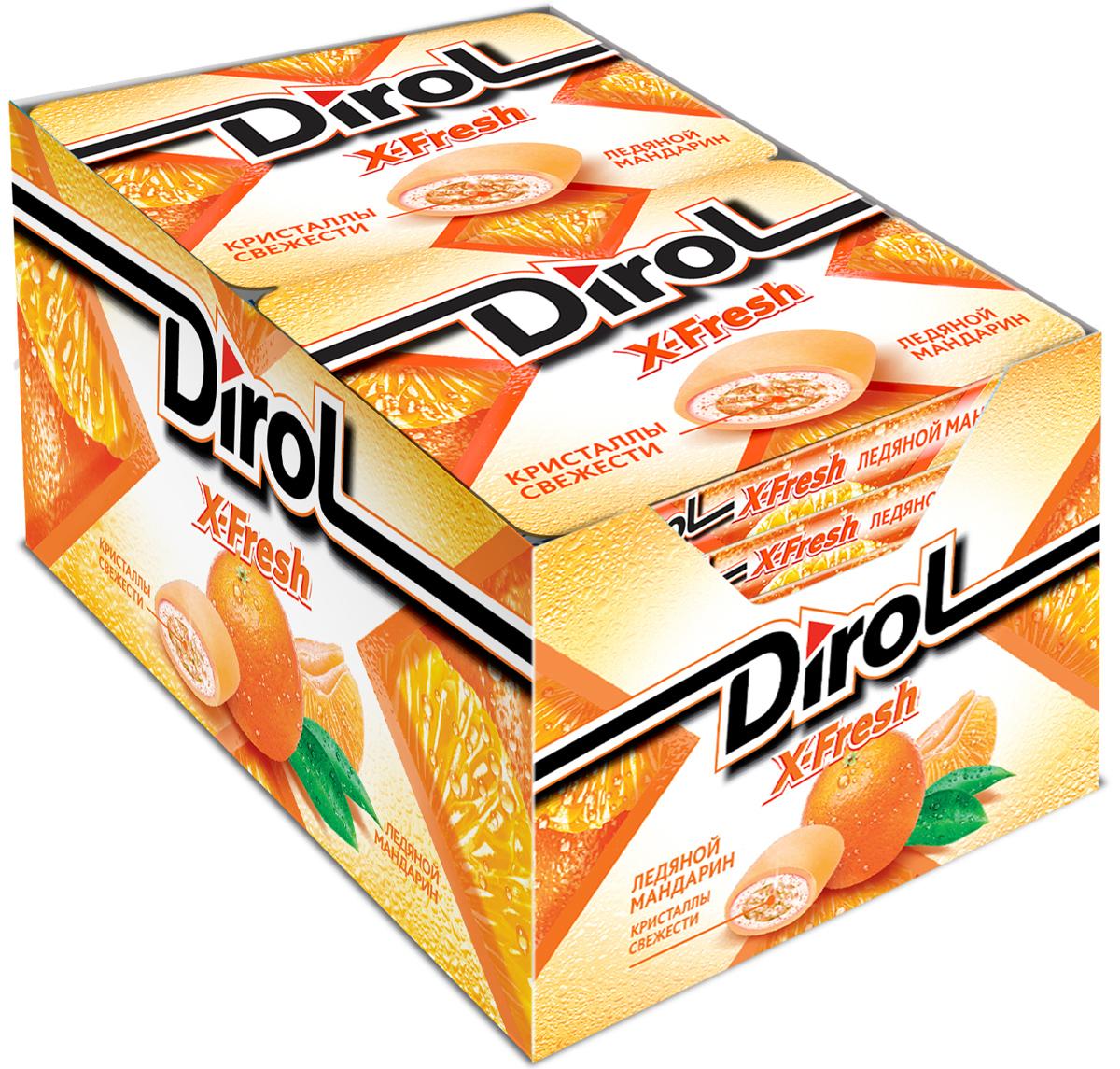 Dirol X-Fresh жевательная резинка без сахара со вкусом мандарина, 12 пачек по 16 г