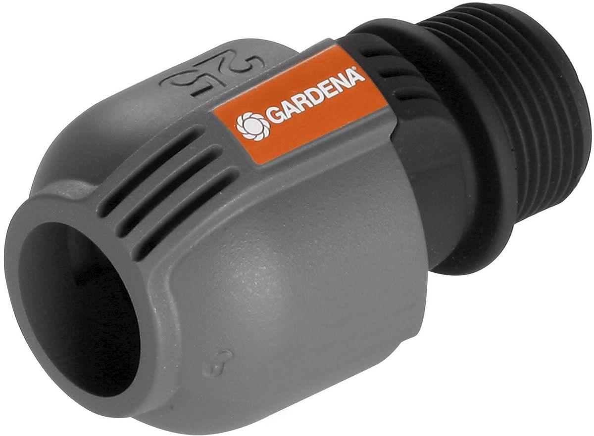 Соединитель Gardena, 25 мм x 1, наружная резьба. 02763-20.000.0002763-20.000.00Соединитель GARDENA 25 мм x 1-наружная резьба - как составная часть дождевательной системы GARDENA - служит для подсоединения подающей линии к клапанам для полива GARDENA (арт. 1278-20 или 1251-20). С помощью этого соединителя система полива также может быть напрямую подключена к домашнему водопроводу. Благодаря запатентованной технологии быстрого соединения Quick & Easy (Быстро и просто) монтаж и демонтаж трубопровода осуществляется без инструментов путем простого поворота завинчивающегося фитинга на 140°. Для безопасной работы и достижения водонепроницаемости резьбовое соединение соединителя является самогерметизирующимся.