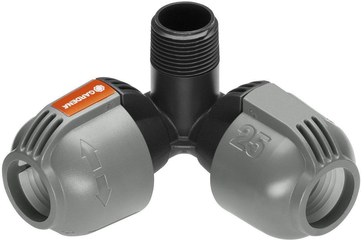 Соединитель Gardena, L-образный 25 мм x 3/4, наружная резьба. 02783-20.000.0002783-20.000.00Как составная часть дождевательной системы GARDENA - изогнутый соединитель GARDENA 25 мм x 3/4-наружная резьба служит для подсоединения выдвижного турбодождевателя T 380 (арт. 8205-29) в углах участка. Благодаря запатентованной технологии быстрого соединения Quick & Easy (Быстро и просто) монтаж и демонтаж трубопровода осуществляется без инструментов путем простого поворота завинчивающегося фитинга на 140°. Для безопасной работы и достижения водонепроницаемости резьбовое соединение изогнутого соединителя является самогерметизирующимся.