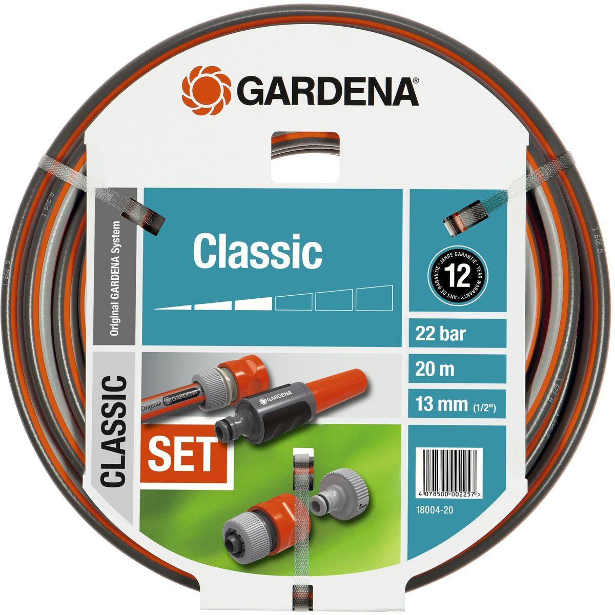 Шланг Gardena Classic, 1/2 х 20 м, комплект. 18004-20.000.0018004-20.000.00В комплект входит Шланг GARDENA Classic и необходимые фитинги. Шланг GARDENA Classic, прекрасно сохраняет свою форму благодаря высококачественному текстильному армированию, отсутствуют фталаты, тяжелые металлы и невосприимчив к УФ-излучению. Комплект набора: 1 х Штуцер резьбовой, 1 х Адаптер, 1 х Коннектор стандартный, 1 х Коннектор с автостопом и наконечник для полива. 1/2*20м