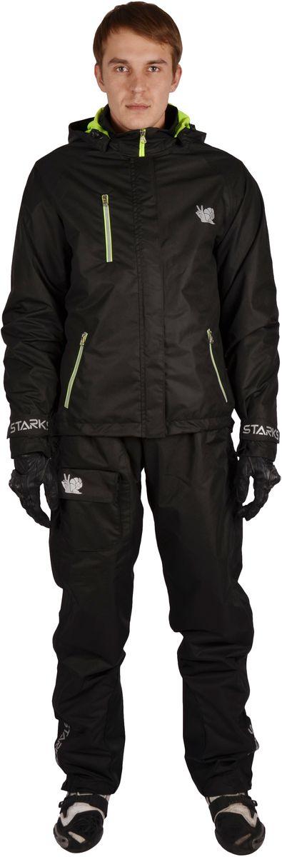 Куртка дождевая Starks Dry Rain, мужская, цвет: черный. Размер LЛЦ0049_L_мужОписание: Мембранный дождевик. Разработан для экстремальных условий эксплуатации и высокой влажности. Топовая Мембрана 10 000 c отделкой Teflon от DuPont пр-ва Бельгии, рассчитана на высокую влажность. Сетчатая подкладка. Активное выведение пара изнутри, 100% защита от протекания снаружи. Все швы изготовлены в замок и герметизированы лентой. Светоотражающие элементы со всех сторон добавят пассивной безопасности в пасмурную погоду. Все молнии водонепроницаемые. Основные молнии закрыты двойным ветрозащитным клапаном. Брюки на лямках. Брючина выстегивается на всю длину для удобства одевания в полевых условиях. Съемный капюшон. Брюки и рукава оборудованы утяжками. Особенности: *Высококачественная мембрана с отделкой Teflon *Светоотражающие элементы *Сетчатая подкладка *Съемный капюшон *Утяжки и кнопки *Брюки на лямках *Выстегивающиеся брюки *Герметизированные швы. Состав: 100% Микрополиэфир; PU-мембрана, отделка Teflon