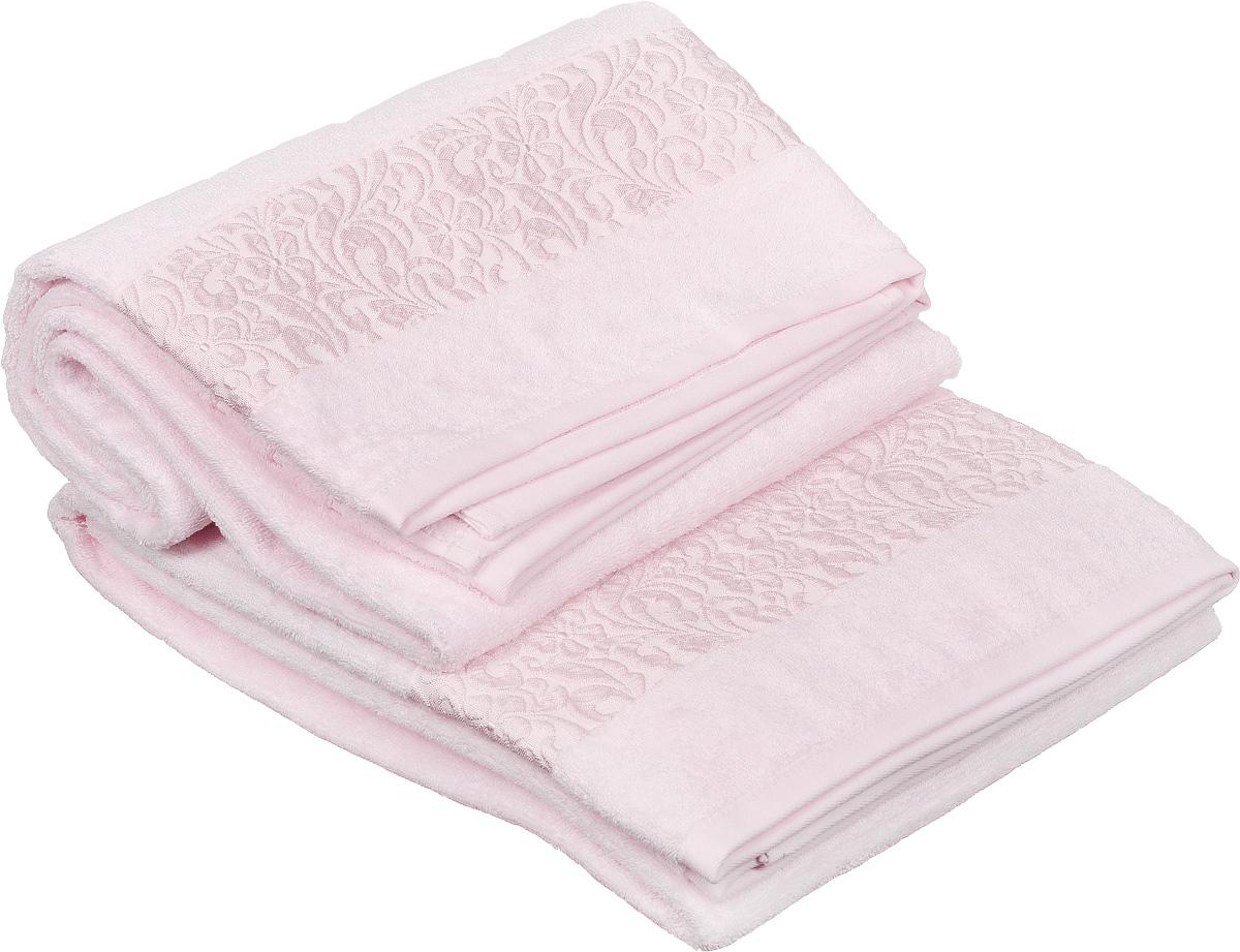 Набор полотенец Issimo Home Valencia, цвет: светло-розовый, 90 х 150 см, 2 шт00000004851Набор Issimo Home Valencia состоит из 2 банных полотенец, выполненных из бамбука с добавлением хлопка. Красивый жаккардовый бордюр с цветочным орнаментом выполнен в цвет полотенец. Полотенца из бамбука только издали похожи на обычные. На самом деле, при первом же прикосновении вы ощутите, насколько эти полотенца мягкие и нежные. Таким полотенцем не нужно вытираться: только коснитесь кожи, и ткань сама все впитает. Такая ткань впитывает в 3 раза лучше, чем хлопок. Несмотря на богатую плотность и высокую петлю полотенца быстро сохнут, остаются легкими даже при намокании.