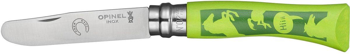 "Нож Opinel ""My First Opinel №07"", длина клинка 8 см, цвет: зеленый 001702"