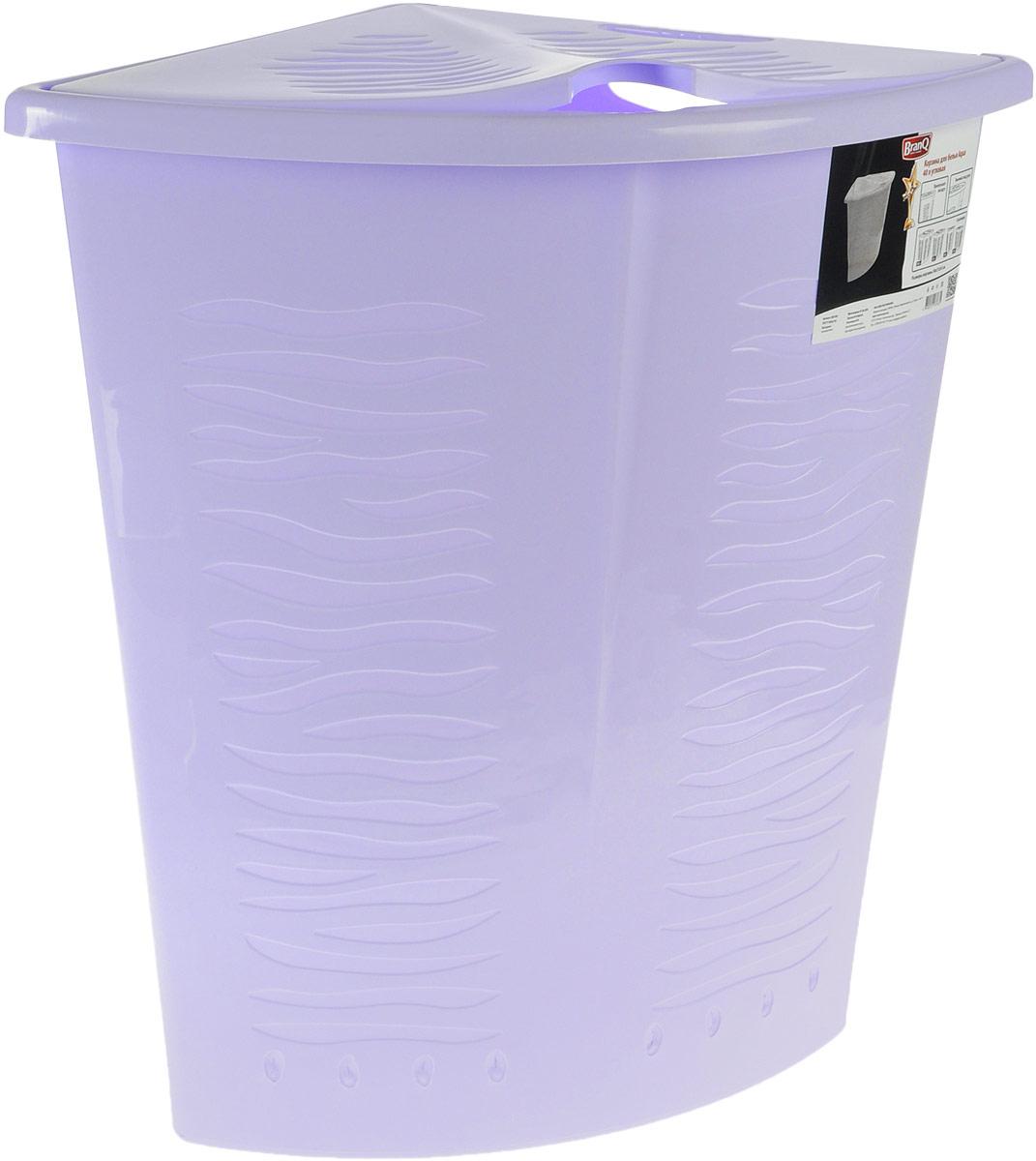 Корзина для белья BranQ Aqua, угловая, цвет: лавандовый, 40 л25051 7_желтыйУгловая корзина для белья BranQ Aqua изготовлена из прочного полипропилена и оформлена перфорированными отверстиями, благодаря которым обеспечивается естественная вентиляция. Изделие идеально подходит для небольших ванных комнат. Корзина оснащена крышкой и ручкой для переноски. На крышке имеется выемка для удобного открывания крышки. Такая корзина для белья прекрасно впишется в интерьер ванной комнаты.