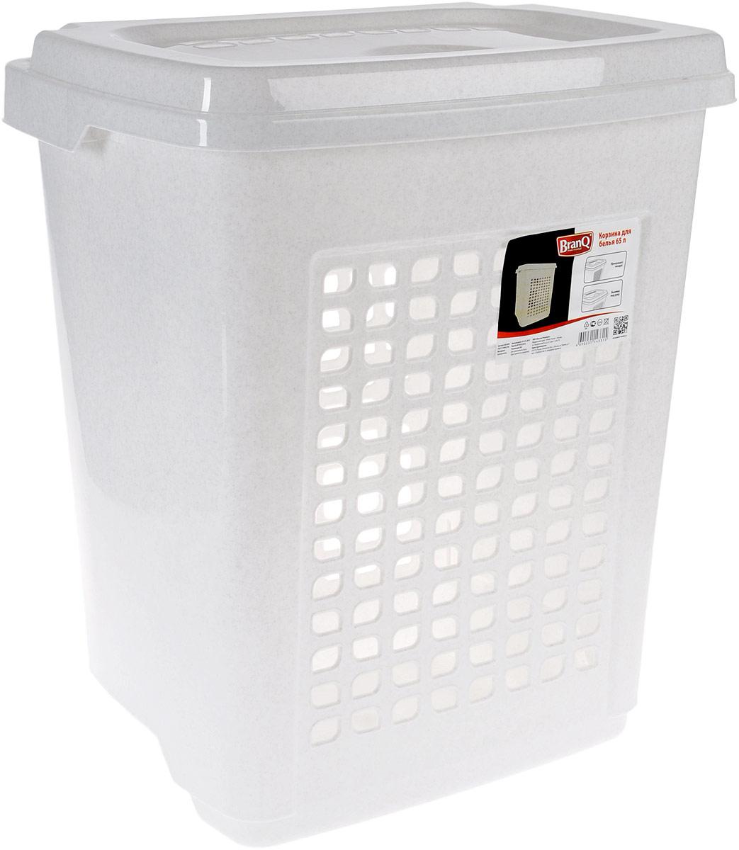 Корзина для белья BranQ, цвет: мраморный, 65 л68/5/3Корзина для белья BranQ изготовлена из прочного пластика и оформлена перфорированными отверстиями, благодаря которым обеспечивается естественная вентиляция. Корзина оснащена крышкой, на которой имеется выемка для удобного открывания. Такая корзина для белья прекрасно впишется в интерьер ванной комнаты.