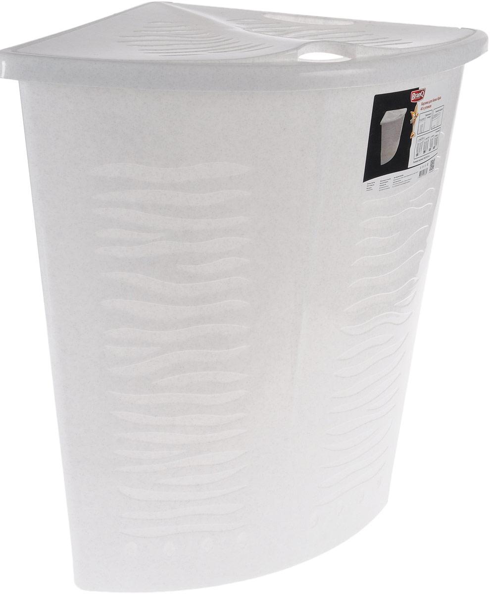 Корзина для белья BranQ Aqua, угловая, цвет: мраморный, 40 лBQ1700МРУгловая корзина для белья BranQ Aqua изготовлена из прочного полипропилена и оформлена перфорированными отверстиями, благодаря которым обеспечивается естественная вентиляция. Изделие идеально подходит для небольших ванных комнат. Корзина оснащена крышкой и ручкой для переноски. На крышке имеется выемка для удобного открывания крышки. Такая корзина для белья прекрасно впишется в интерьер ванной комнаты.