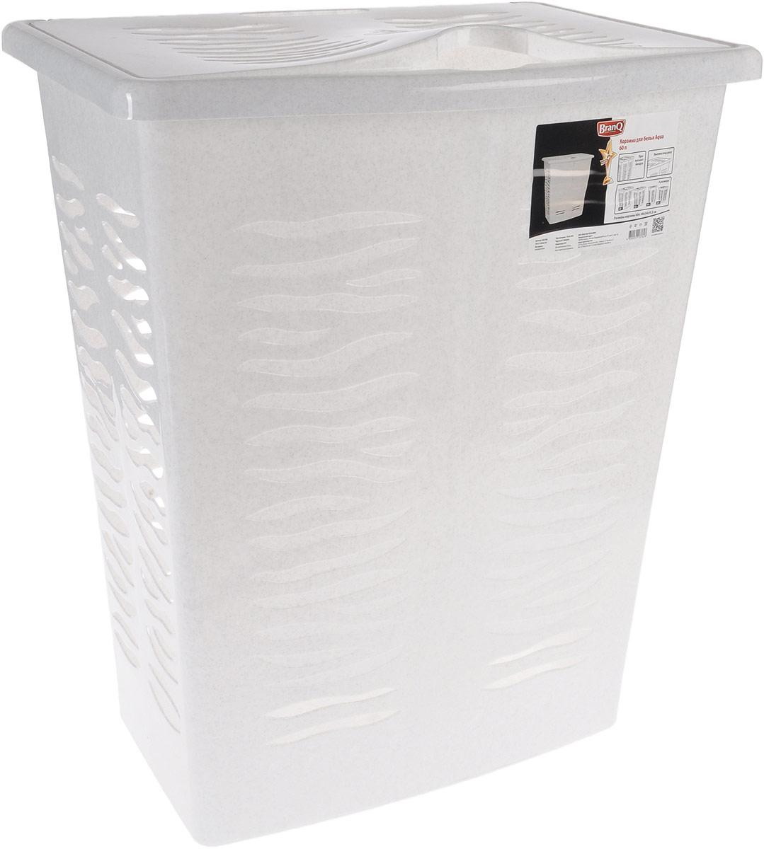 Корзина для белья BranQ Aqua, цвет: мраморный, 60 лBQ1708МРКорзина для белья BranQ Aqua изготовлена из прочного полипропилена и оформлена перфорированными отверстиями, благодаря которым обеспечивается естественная вентиляция. Корзина оснащена крышкой и ручкой для переноски. На крышке имеется выемка для удобного открывания крышки. Такая корзина для белья прекрасно впишется в интерьер ванной комнаты.
