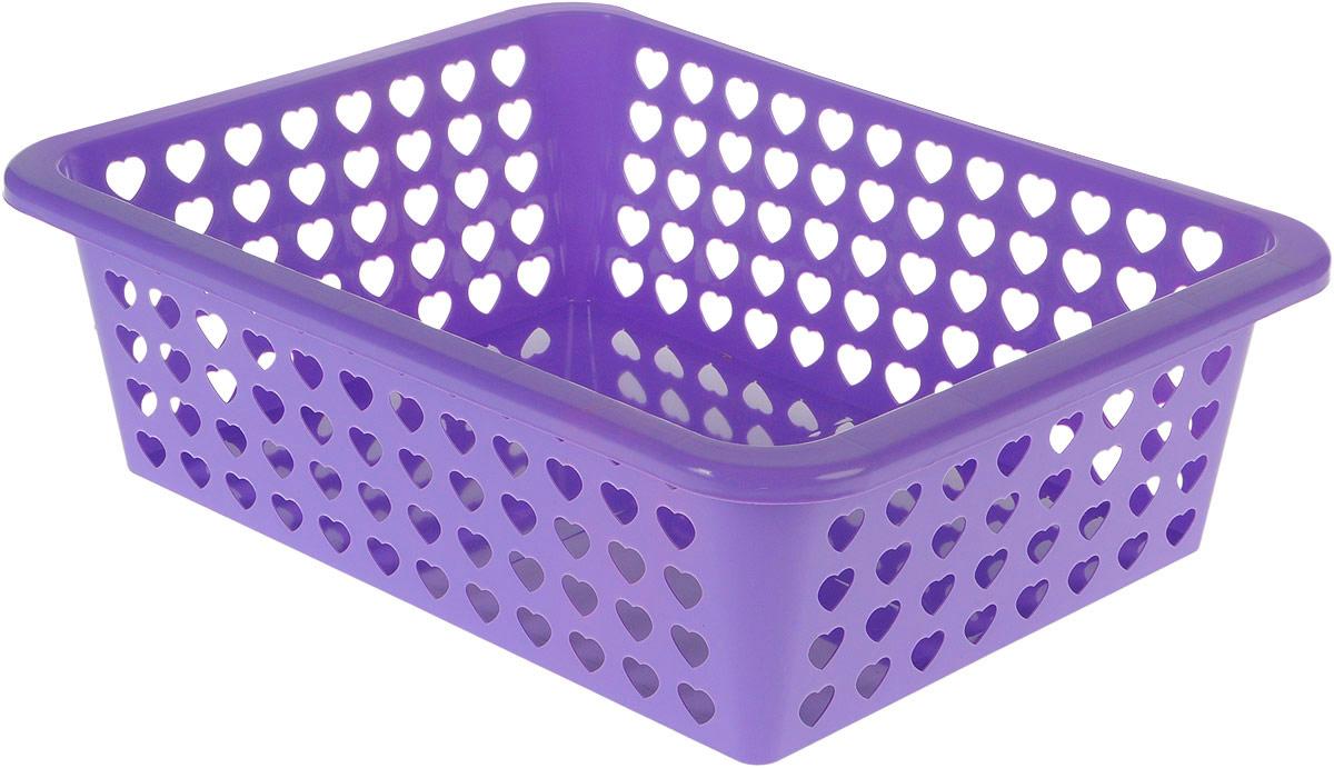 Корзина Альтернатива Вдохновение, цвет: фиолетовый, 39,5 х 29,7 х 12 см587074_фиолетовыйКорзина Альтернатива Вдохновение выполнена из пластика и оформлена перфорацией в виде сердечек. Изделие имеет сплошное дно и жесткую кромку. Корзина предназначена для хранения мелочей в ванной, на кухне, на даче или в гараже. Позволяет хранить мелкие вещи, исключая возможность их потери.