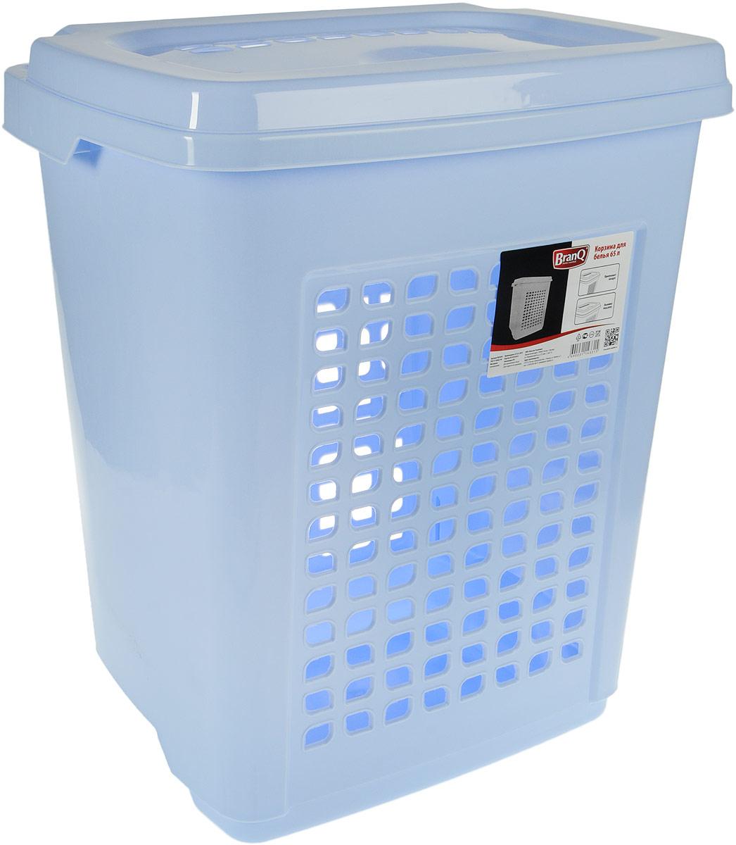 Корзина для белья BranQ, с крышкой, цвет: голубой, 65 лBQ1694ГЛПКорзина для белья BranQ изготовлена из прочного пластика. Корзина пропускает воздух, устойчива к перепадам температур и влажности, поэтому идеально подходит для ванной комнаты. Изделие оснащено выемками под руки и крышкой. Можно использовать для хранения белья, детских игрушек, домашней обуви и прочих бытовых вещей. Элегантный дизайн подойдет к интерьеру любой ванной.