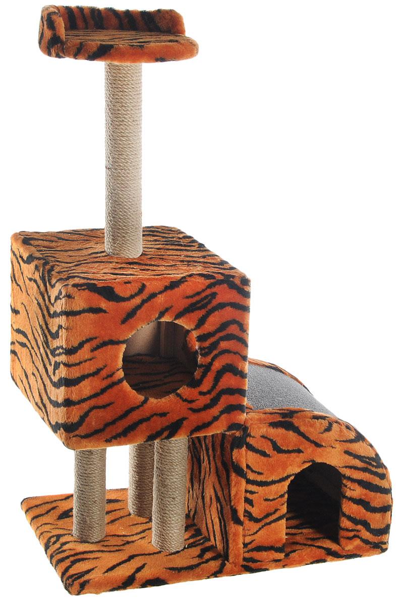 Домик-когтеточка Меридиан, двухуровневый, цвет: оранжевый, черный, бежевый, 71 х 36 х 110 см0120710Домик-когтеточка Меридиан выполнен из высококачественного ДВП и ДСП и обтянут искусственным мехом. Изделие предназначено для кошек. Ваш домашний питомец будет с удовольствием точить когти о специальные столбики, изготовленные из джута или о горку из ковролина. А отдохнуть он сможет либо на полке, либо в домиках. Домик-когтеточка Меридиан принесет пользу не только вашему питомцу, но и вам, так как он сохранит мебель от когтей и шерсти.Общий размер: 71 х 36 х 110 см.Размер нижнего домика: 36 х 36 х 32 см.Размер верхнего домика: 36 х 36 х 31 см.Размер полки: 26 х 26 см.