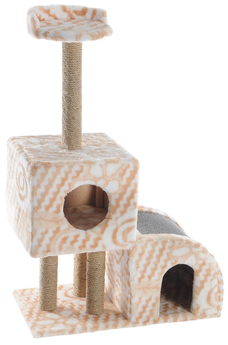 Домик-когтеточка Меридиан, двухуровневый, цвет: бежевый, белый, серый, 71 х 36 х 110 см0120710Домик-когтеточка Меридиан выполнен из высококачественного ДВП и ДСП и обтянут искусственным мехом. Изделие предназначено для кошек. Ваш домашний питомец будет с удовольствием точить когти о специальные столбики, изготовленные из джута или о горку из ковролина. А отдохнуть он сможет либо на полке, либо в домиках. Домик-когтеточка Меридиан принесет пользу не только вашему питомцу, но и вам, так как он сохранит мебель от когтей и шерсти.Общий размер: 71 х 36 х 110 см.Размер нижнего домика: 36 х 36 х 32 см.Размер верхнего домика: 36 х 36 х 31 см.Размер полки: 26 х 26 см.