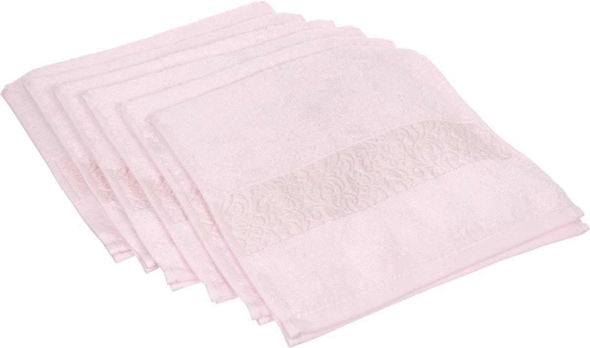 Набор полотенец Issimo Home Valencia, цвет: светло-розовый, 30 х 50 см, 6 шт00000004844Набор Issimo Home Valencia состоит из 6 полотенец, выполненных из 60% бамбукового волокна и 40% хлопка. Такими полотенцами не нужно вытираться - только коснитесь кожи - и ткань сама все впитает. Такая ткань впитывает в 3 раза лучше, чем хлопок. Набор из маленьких полотенец-салфеток очень практичен - он станет незаменимым в дороге и в путешествиях. Кроме того, это хороший, красивый и изысканный подарок. Несмотря на богатую плотность и высокую петлю полотенец, они быстро сохнут, остаются легкими даже при намокании.