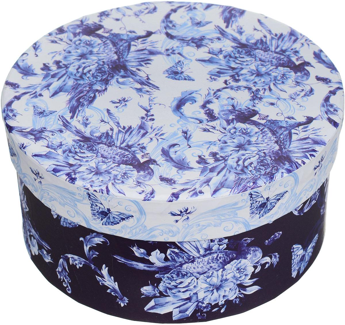 """Коробка подарочная Magic Home """"Голубые цветы"""", круглая, 14 х 14 х 7 см 44292"""