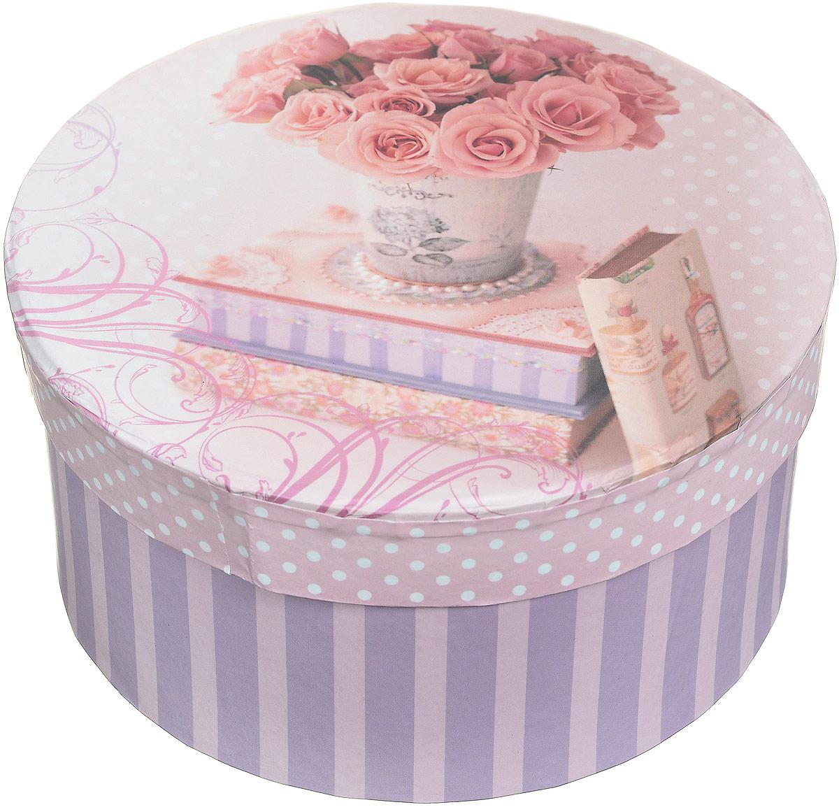 Коробка подарочная Magic Home Ваза с розами, круглая, 14 х 14 х 7 смKT002AПодарочная коробка Magic Home Ваза с розами выполнена из мелованного ламинированного картона. Коробочка оформлена оригинальным цветочным рисунком. Изделие имеет круглую форму и закрывается крышкой. Подарочная коробка - это наилучшее решение, если вы хотите порадовать близких людей и создать праздничное настроение, ведь подарок, преподнесенный в оригинальной упаковке, всегда будет самым эффектным и запоминающимся. Окружите близких людей вниманием и заботой, вручив презент в нарядном, праздничном оформлении.Плотность картона: 1100 г/м2.