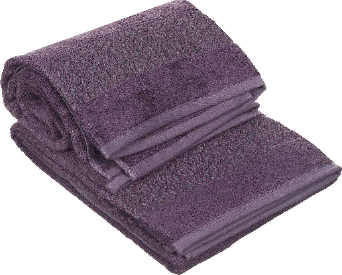 Набор полотенец Issimo Home Valencia, цвет: пурпурный, 90 х 150 см, 2 шт00000004879Набор Issimo Home Valencia состоит из 2 банных полотенец, выполненных из бамбука с добавлением хлопка. Красивый жаккардовый бордюр с цветочным орнаментом выполнен в цвет полотенец. Полотенца из бамбука только издали похожи на обычные. На самом деле, при первом же прикосновении вы ощутите, насколько эти полотенца мягкие и нежные. Таким полотенцем не нужно вытираться: только коснитесь кожи, и ткань сама все впитает. Такая ткань впитывает в 3 раза лучше, чем хлопок. Несмотря на богатую плотность и высокую петлю полотенца быстро сохнут, остаются легкими даже при намокании.