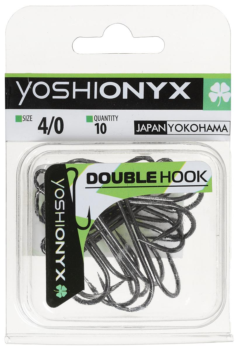 Крючок двойной Yoshi Onyx Double Hook, №4/0, 10 шт. BN102631Двойные крючки Yoshi Onyx Double Hook с нормальной длиной цевья достаточно универсальные и могут использоваться в самых разнообразных видах рыбной ловли. Острая лазерная заточка и сверхпрочная закаленная сталь предотвратит разгибание или обламывание крючка и сход рыбы. Размер крючка: 4/0.