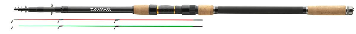 Удилище фидерное Daiwa Black W. Tele Feeder, 3,9 м, до 100 г95910-961Телескопическое фидерное удилище с мощным бланком иполупараболическим строем доставит вам удовольствие привываживании. Это удилище отличается изысканным дизайноми, благодаря своему строю, может быть использовано для ловлис методными кормушками, равно как и для ловли угря. Оснащенокольцами из оксида титана на двойной лапке, разнесенной пробковойрукояткой и поставляется в тканевом чехле.В комплект входят 2 вершинки из стеклопластика