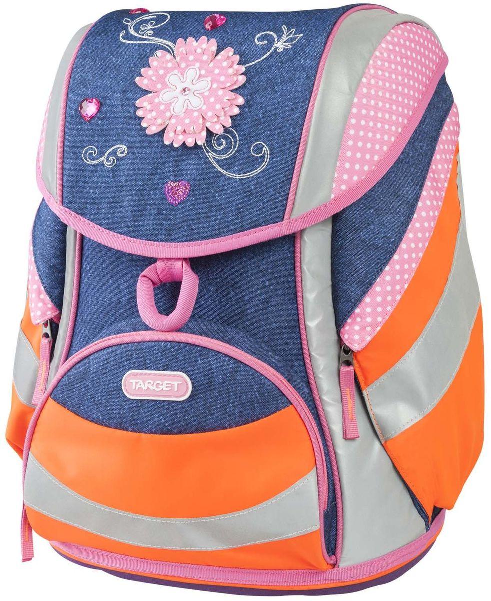 Target Collection Ранец школьный Джинсовые цветы 17953VS16-SB-001Детский ранец бренда «Target Collection» имеет яркий рисунок и изготовлен из современных, прочных материалов. Техническими особенностями рюкзака (портфелей) «Target Collection» является система «Flexiball» (поясничная поддержка), которая оптимально адаптирована для ребенка. Ведь самое главное, чтобы ребенок имел правильную осанку во время переноски портфеля. Система «Flexiball» является новшеством в промышленности, она правильно распределяет вес мешка, автоматически подстраивается под ребенка и поэтому обеспечивает идеальное положение для поясничной поддержки. Во время прогулки, система «Flexiball» движется вместе с ребенком, за счет гибкого материала уменьшает нагрузку при ходьбе. Портфель имеет форму куба, пригодную для учащихся начальных классов. Плечевые лямки можно отрегулировать для каждого ребенка индивидуально, поэтому получается что он «растет» вместе с ребенком. Лямки содержат вентиляционные отверстия и тем самым имеют возможность дышать. Они дополнительно оснащены ЭКО-пеной, которая делает ношение портфеля более комфортным для ребёнка. Портфель содержит два отделения, закрывающиеся замком-защелкой. Система блокировки «FID» позволяет открыть его всего лишь одним пальцем и также моментально закрыть за счет магнитной силы. Под крышкой портфеля расположено прозрачное окошко, предназначенное для расписания уроков, лицевая сторона оснащена светоотражающим материалом присутствующем на передней, боковой и задней части, что позволит сделать вашего ребенка более заметным, а так же обезопасить его не только днем, но и ночью. При создании данной модели используются улучшенные материалы (3D), которые имеют свойство «дышать». Благодаря этим материалам воздух циркулирует, и следовательно, спина ребёнка не будет потеть. Дополнительно, имеется грудное крепление-стяжка для фиксации на плечах и поясничное крепление для фиксации на поясе ребенка, они установлены так, чтобы порфель самыми оптимальным образом сид
