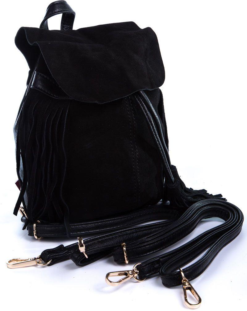 Рюкзак женский Milana, цвет: черный. 162786-1-110BP-001 BKСтильный женский рюкзак Milana идеально подойдет под ваш образ. Он выполнен из сочетания искусственной и натуральной кожи. Внутри расположено главное отделение, которое состоит из одного кармана на молнии и открытого кармана. Рюкзак оснащен съемными плечевыми ремешками и дополнен верхней петлей для подвешивания. Верх изделия закрывается с помощью утягивающих завязок.Такой модный и удобный рюкзак станет незаменимым аксессуаром в вашем гардеробе.
