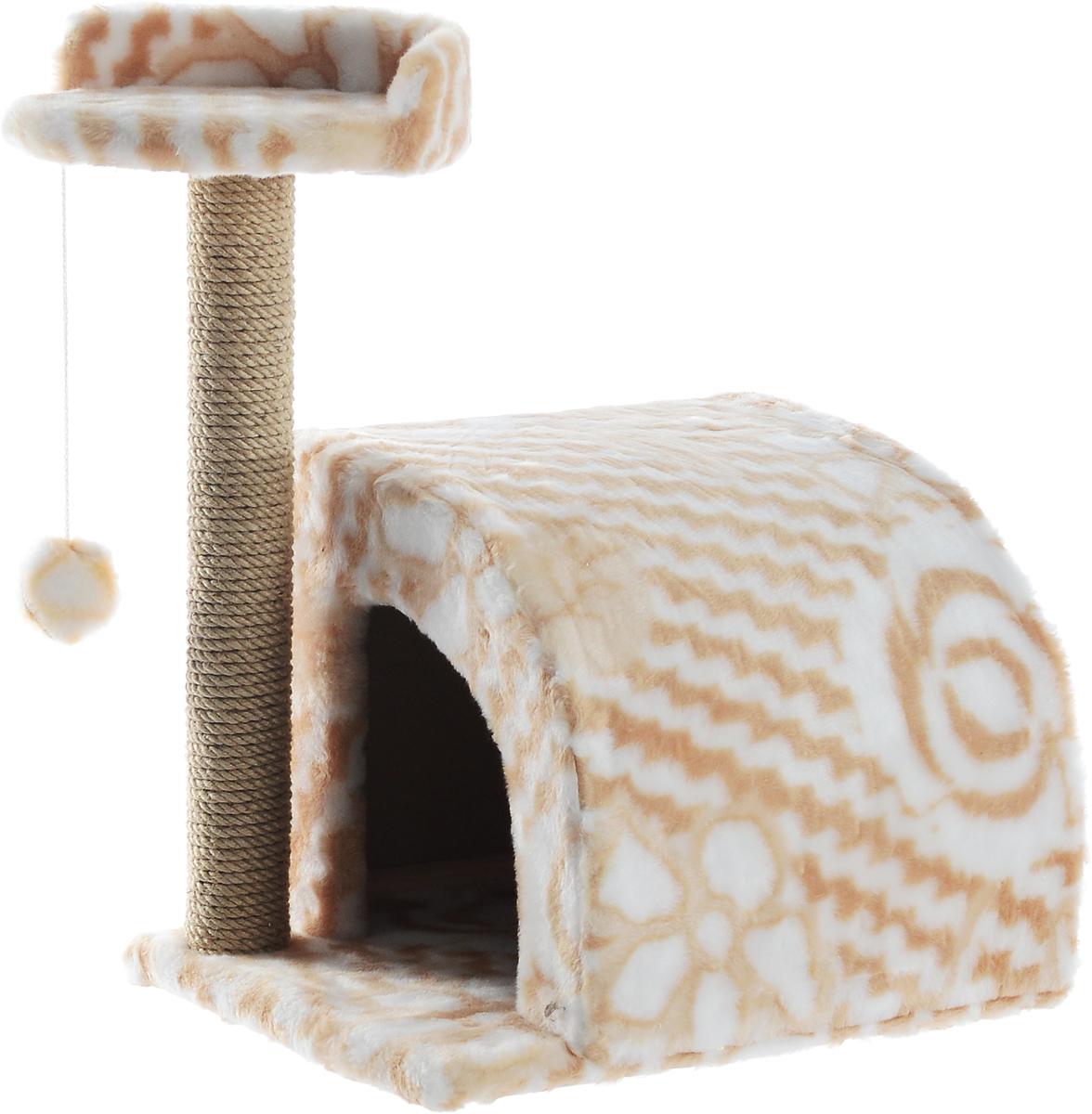 Домик-когтеточка Меридиан, полукруглый, цвет: белый, бежевый, 54 х 40 х 59 смД518ЦвДомик-когтеточка Меридиан выполнен из высококачественного ДВП и ДСП и обтянут искусственным мехом. Изделие предназначено для кошек. Ваш домашний питомец будет с удовольствием точить когти о специальный столбик, изготовленный из джута. А отдохнуть он сможет либо на полке, либо в домике. Изделие снабжено подвесной игрушкой. Домик-когтеточка Меридиан принесет пользу не только вашему питомцу, но и вам, так как он сохранит мебель от когтей и шерсти. Общий размер: 54 х 40 х 59 см. Размер домика: 36 х 36 х 32 см. Размер полки: 27 х 26 см.